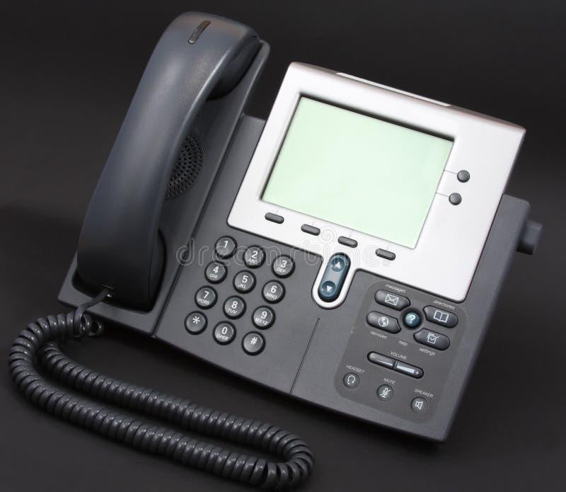 Telefone moderno de Voip no preto imagens de stock
