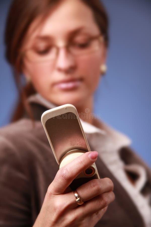 Telefone no foco imagens de stock