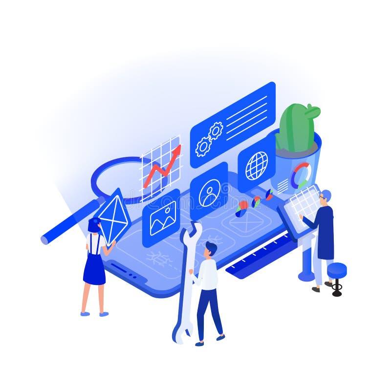 Telefone ou smartphone gigante e homens e mulheres minúsculos que trabalham ao redor Programação de aplicativo móvel e teste, enc ilustração stock