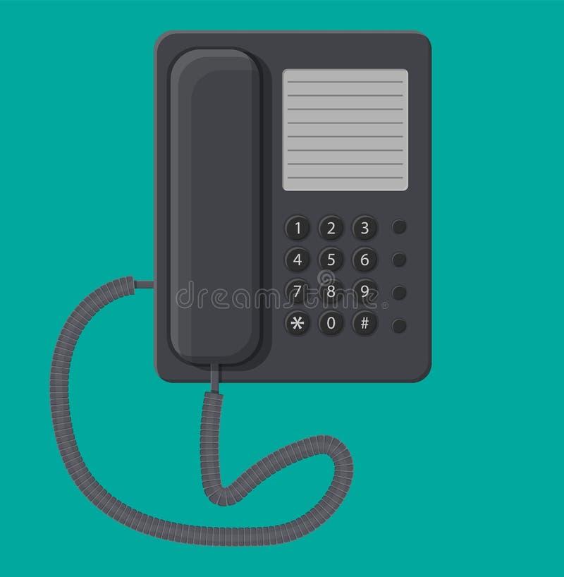 Telefone prendido preto do escritório ilustração royalty free