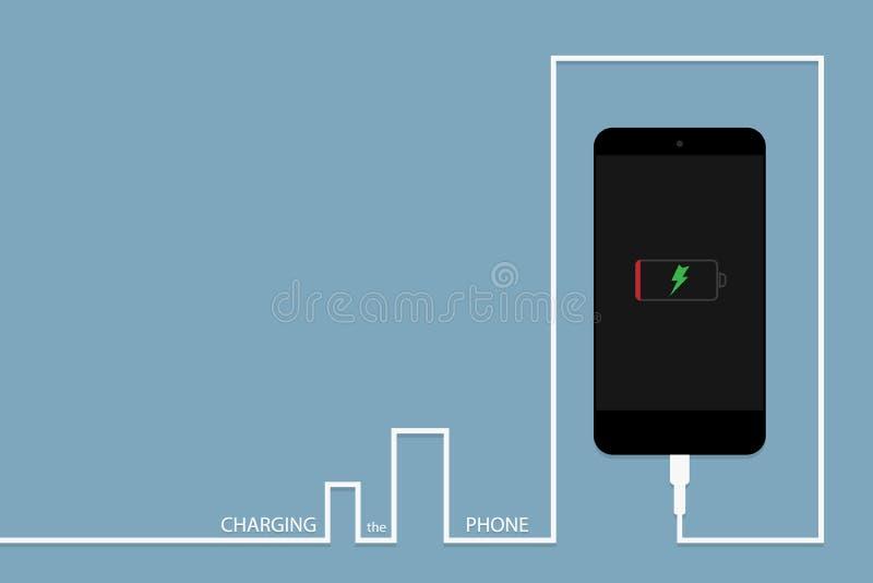 Telefone preto que carrega com o banco da energia ilustração stock