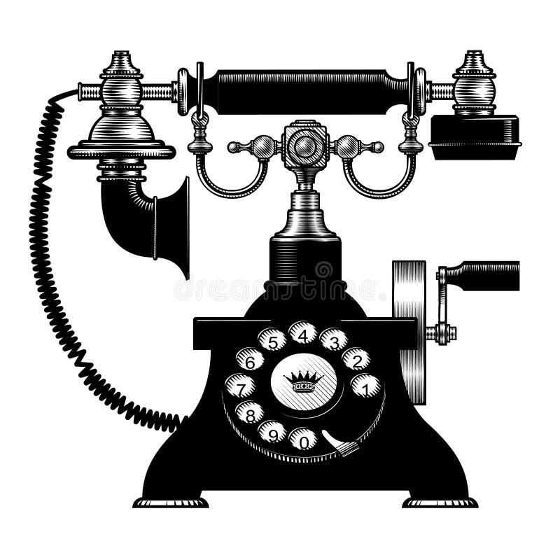 Telefone preto retro ilustração royalty free