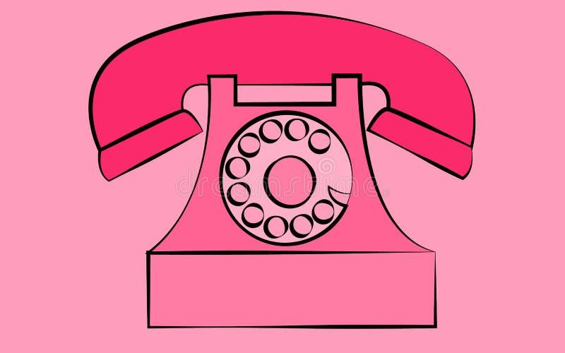Telefone retro velho estacionário cor-de-rosa do moderno da antiguidade do vintage com tubo de respiração e disco em um fundo cor ilustração royalty free