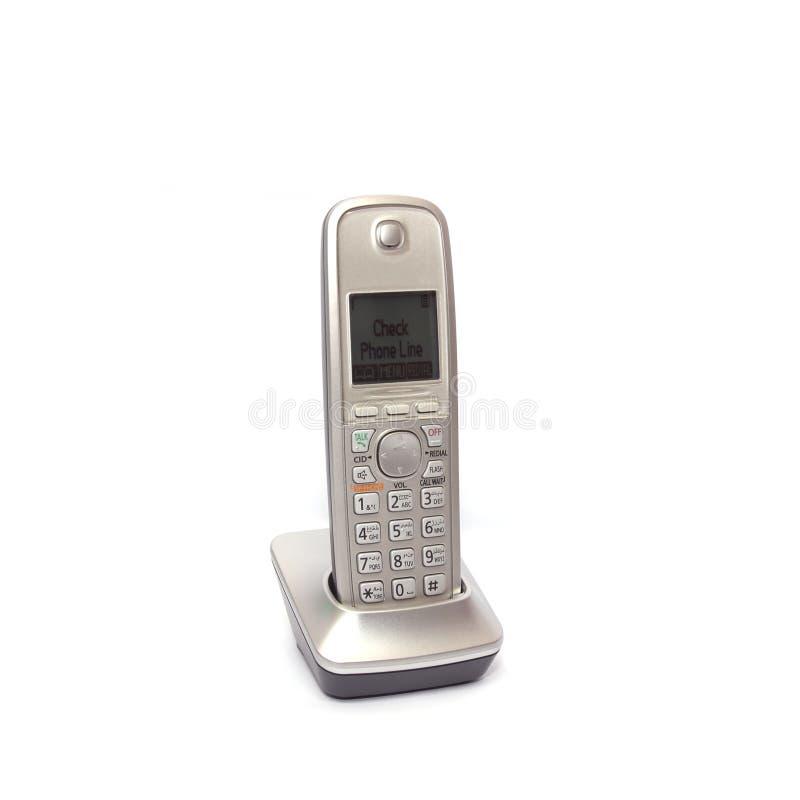 Telefone sem fios no fundo branco fotografia de stock
