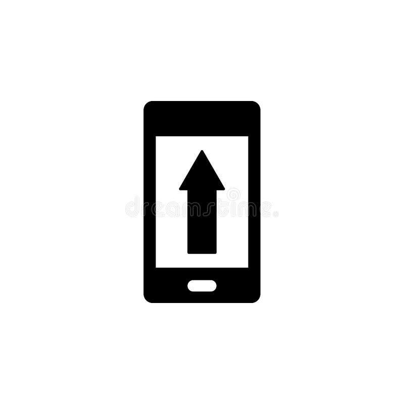 Telefone, seta acima, ?cone do vetor da transfer?ncia de arquivo pela rede Ilustra??o simples do elemento do conceito de UI Ilust ilustração royalty free