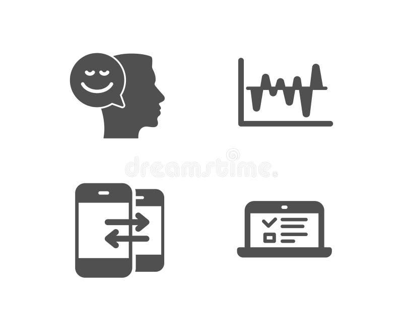 Telefone a uma comunicação, à análise conservada em estoque e a bons ícones do humor A Web fala o sinal ilustração do vetor