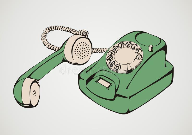 Telefone verde do vintage ilustração royalty free