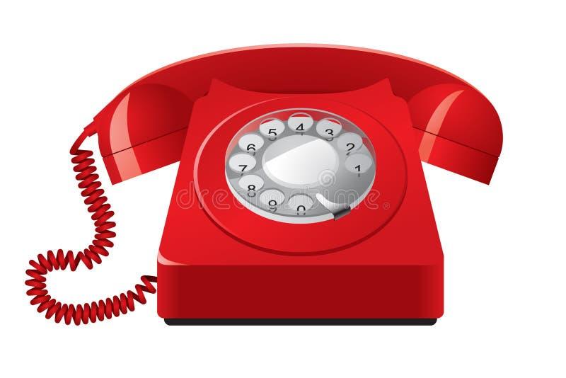 Telefone vermelho velho ilustração royalty free