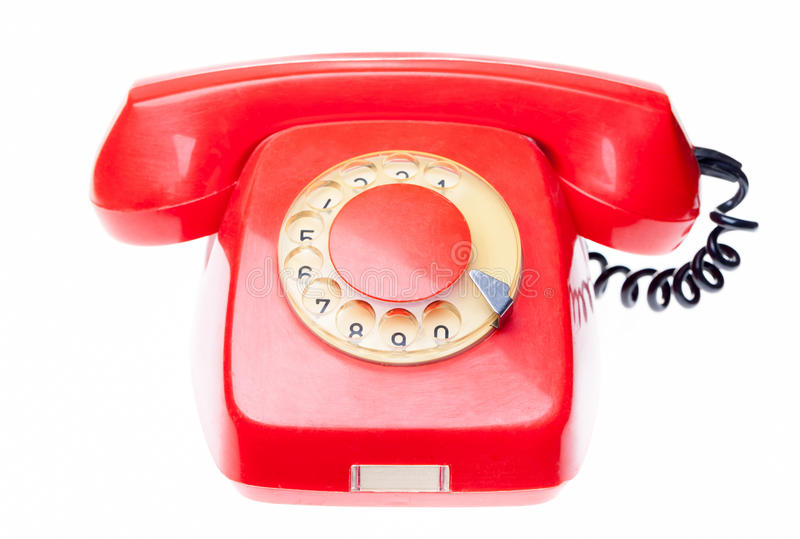 Telefone vermelho velho isolado imagens de stock royalty free