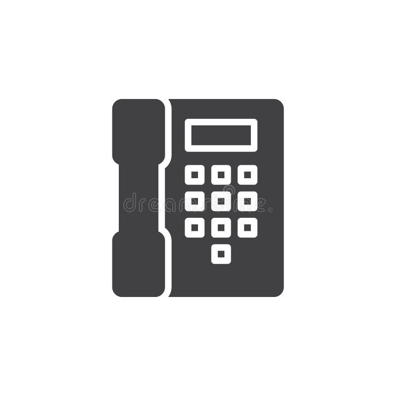 Telefone, vetor do ícone do telefone, sinal liso enchido, pictograma contínuo isolado no branco ilustração royalty free
