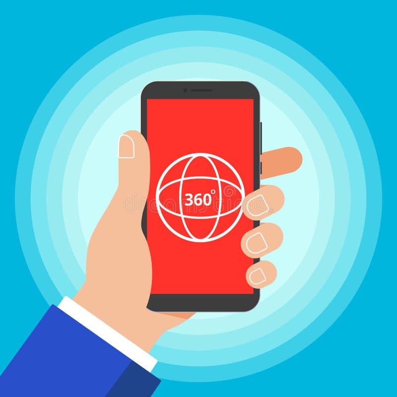 Telefonen för apparaten för handhållen metar den svarta med 360 grader illustrationen för vektorn för stil för designen för symbo stock illustrationer