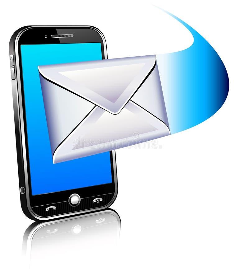 telefonen för symbolen för e-posten 3d mottar den mobila överför stock illustrationer