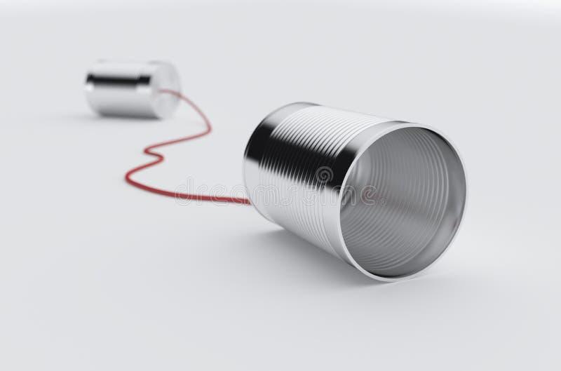 Telefonen kan med röd kabel stock illustrationer