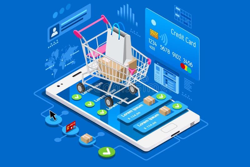 Telefonen shoppar och kreditkorten stock illustrationer