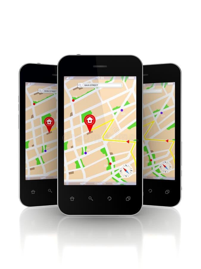 Telefones celulares com o navegador de GPS na tela. ilustração do vetor