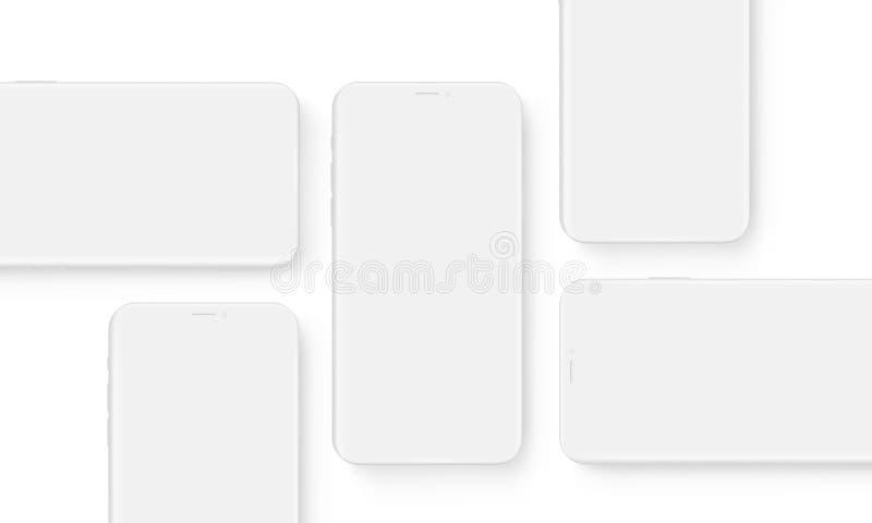 Telefones celulares do wireframe da argila com telas vazias ilustração do vetor