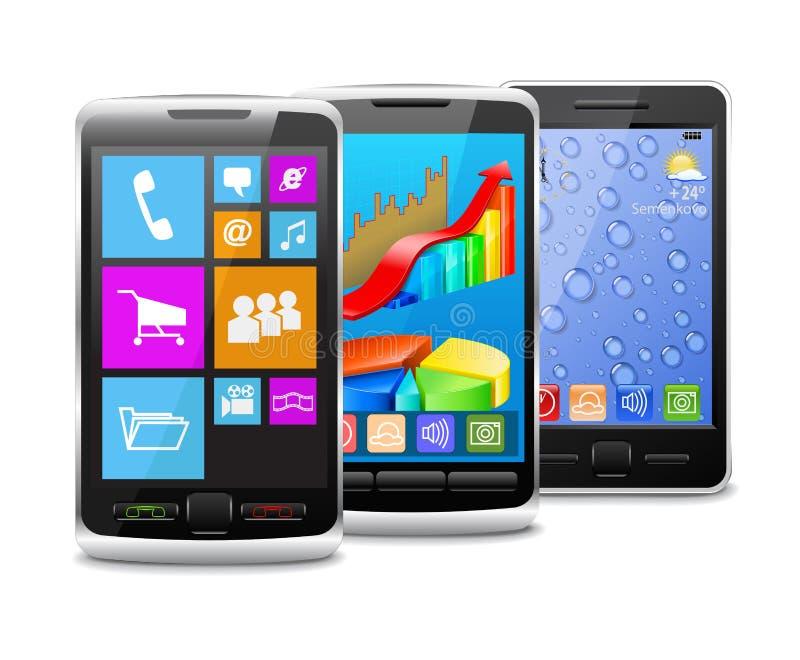 Telefones celulares modernos e velhos. ilustração stock