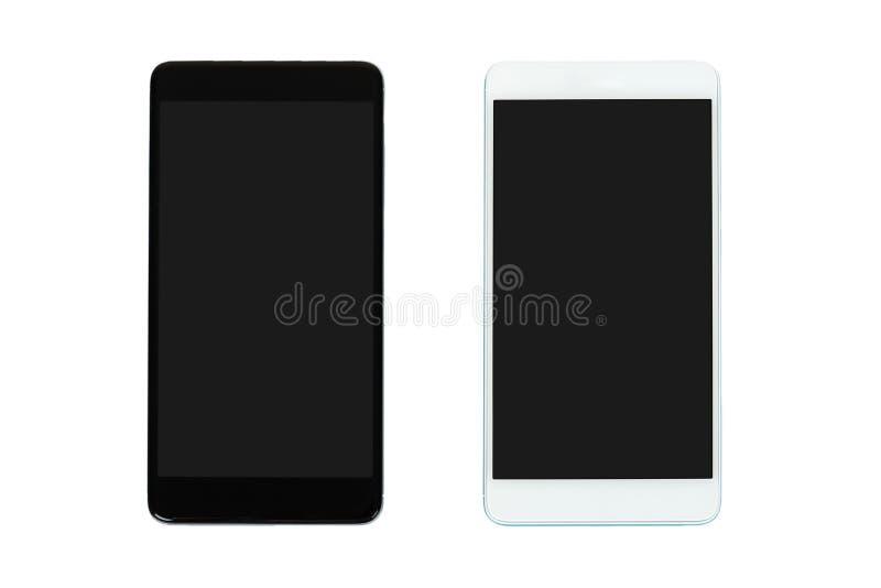 Telefones celulares preto e branco com as telas escuras, isoladas no fundo branco Anuncie o molde, copie o espaço imagem de stock royalty free