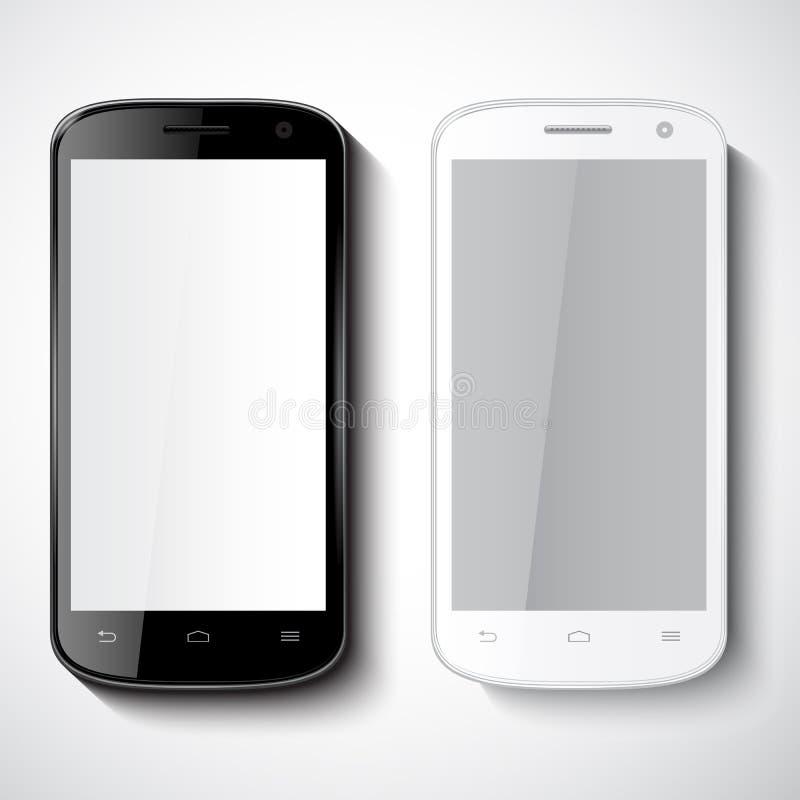 Telefones espertos no fundo branco ilustração royalty free