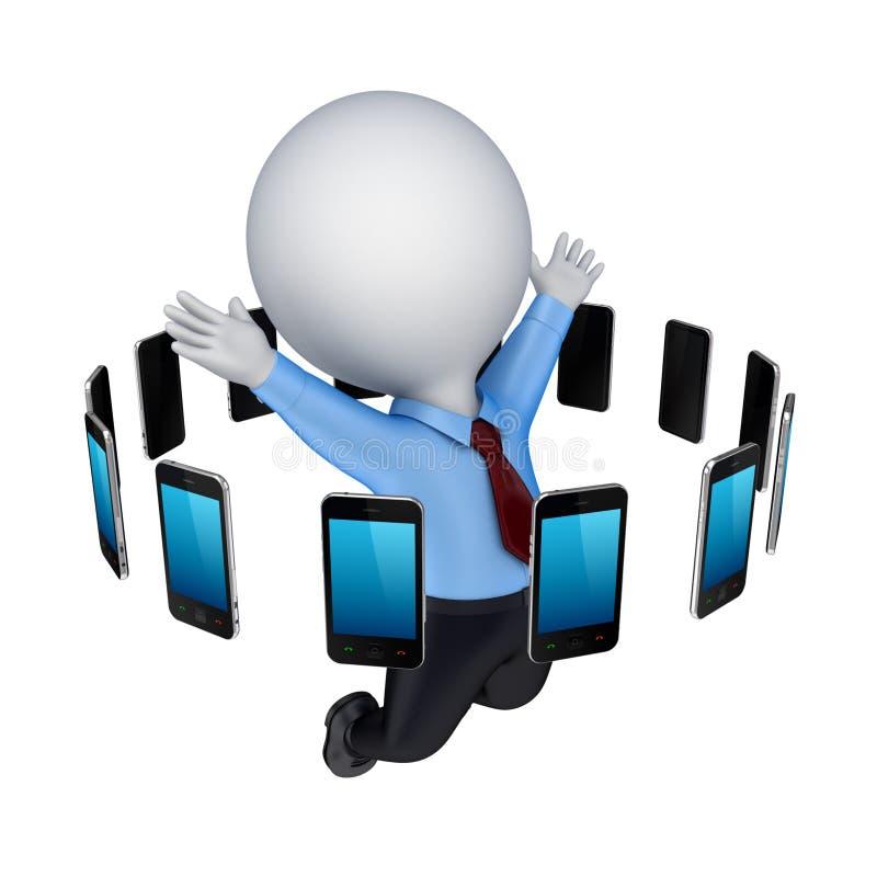 Telefones móveis modernos em torno da pessoa 3d feliz. ilustração do vetor