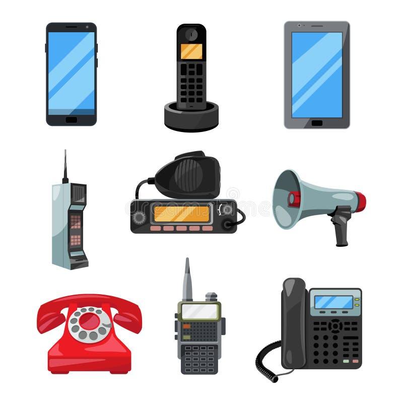 Telefones, smartphones e ferramentas diferentes de uma comunicação de outros setor Símbolos do contato do vetor ilustração do vetor