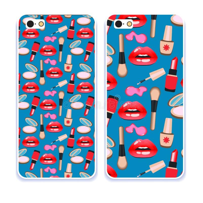 Telefonfallsamling Härliga kanter för Closeup av kvinnan med röd läppstift och glans Sexigt vått kantsmink stock illustrationer