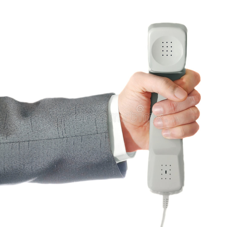 Telefongefäß in einer Hand lizenzfreie stockfotos