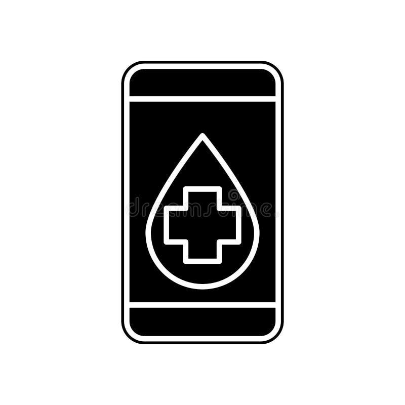 Telefongesundheitswesenikone Element der Blutspende für bewegliches Konzept und Netz Appsikone Glyph, flache Ikone für Websiteent lizenzfreie abbildung