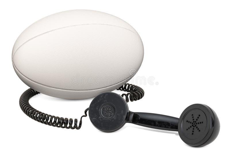 Telefonhörer mit Rugbyball, Wiedergabe 3D vektor abbildung