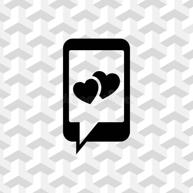 Telefoni con i cuori sulla progettazione piana dell'illustrazione di vettore delle azione dell'icona dello schermo royalty illustrazione gratis