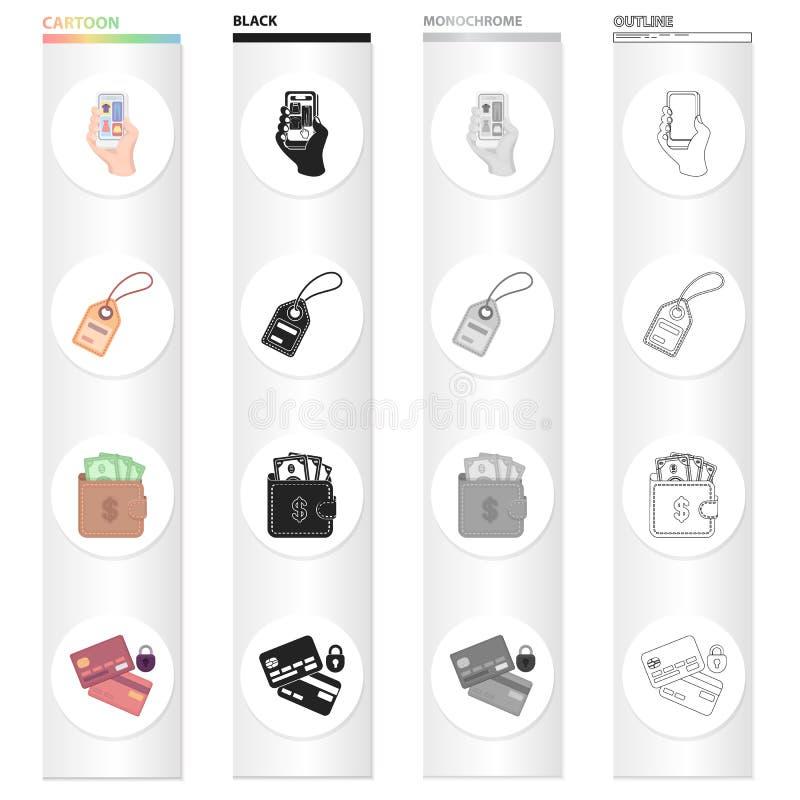 Telefoni a disposizione, etichetta del prodotto, incassi la borsa per l'acquisto, carta assegni per il commercio elettronico Vend royalty illustrazione gratis