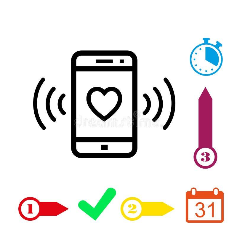 Telefoni gli anelli con una progettazione piana dell'illustrazione di vettore delle azione dell'icona del cuore royalty illustrazione gratis