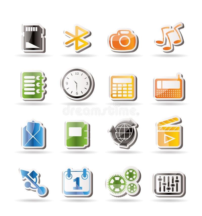 Telefoni le icone di prestazione, del Internet e dell'ufficio royalty illustrazione gratis