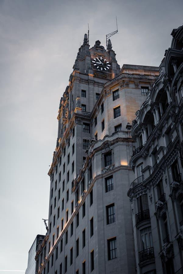 Telefonica anterior sedia em Gran através de, Madri foto de stock royalty free