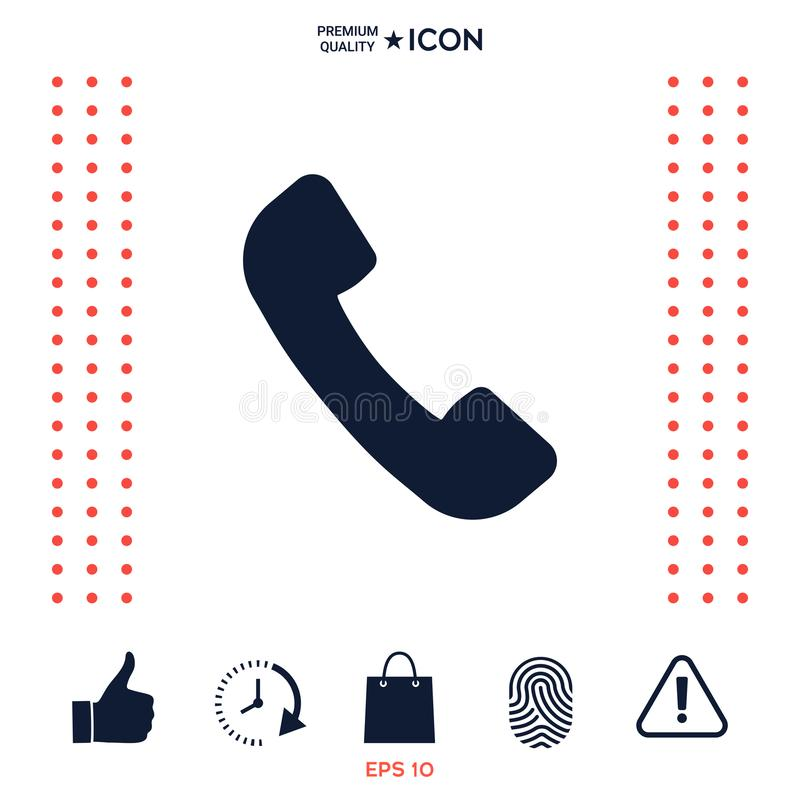 Telefonicznego handset symbol, telefonicznego odbiorcy ikona ilustracja wektor