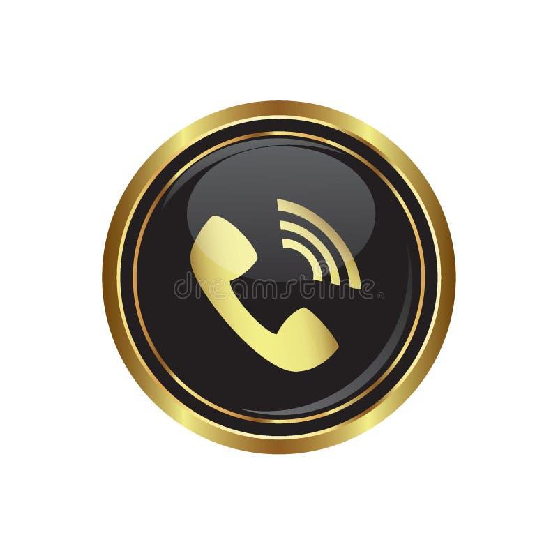 Telefonicznego odbiorcy ikona na czerni z złocistym round guzikiem ilustracji