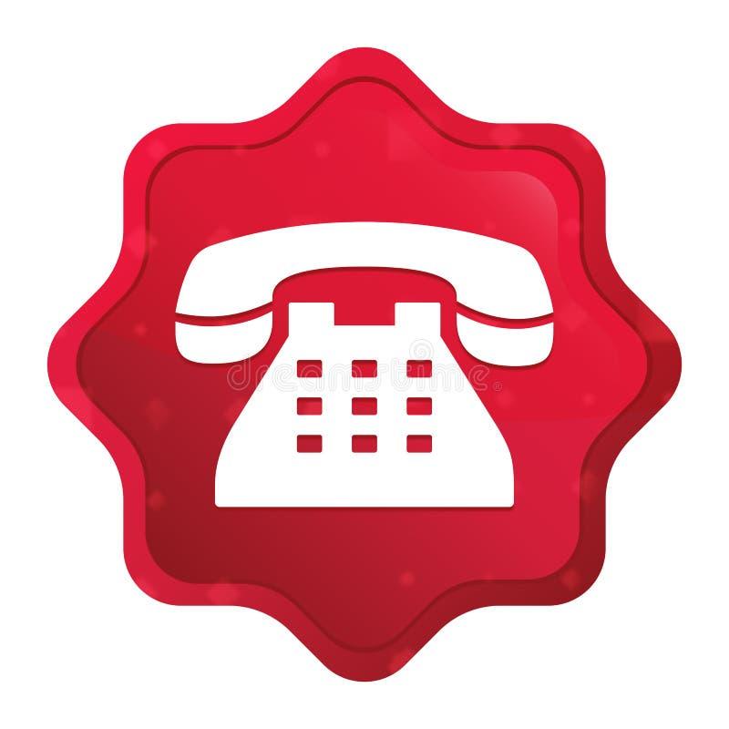 Telefonicznej ikony starburst majcheru mglisty różany czerwony guzik royalty ilustracja