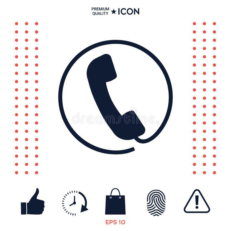 Telefoniczny handset otaczający telefonicznym sznurem - ikona ilustracji