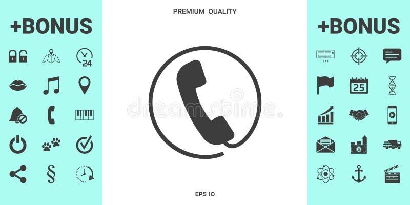 Telefoniczny handset otaczający telefonicznym sznurem - ikona royalty ilustracja