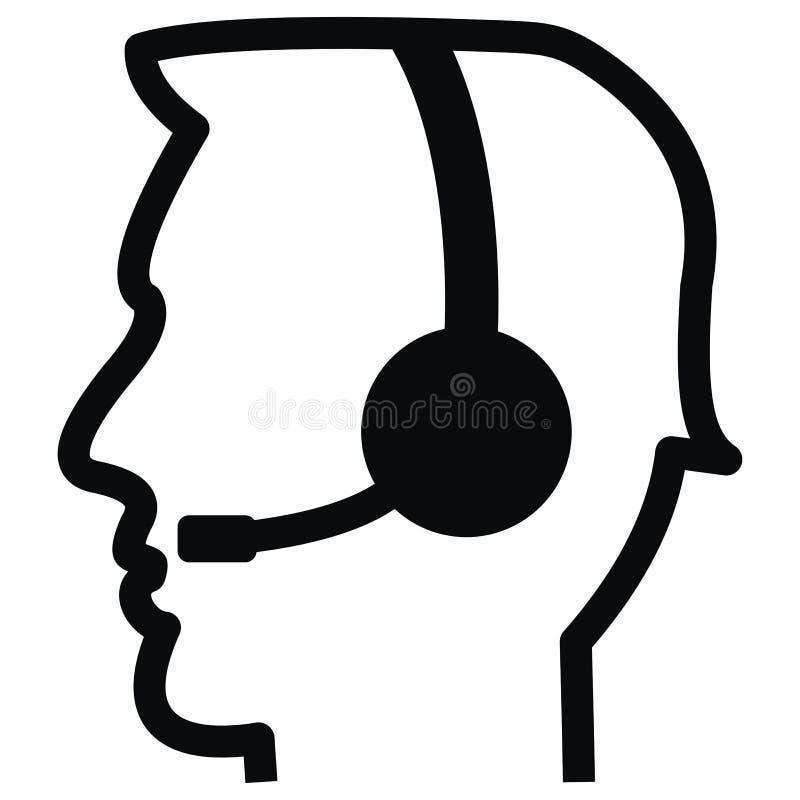 Telefoniczny operator, wektorowa ikona, czerń kontur royalty ilustracja