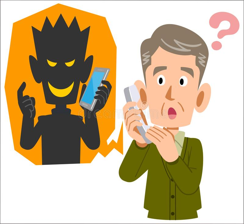 Telefoniczny oszustwo prawdopodobnie i starszy mężczyzna oszukiwać ilustracja wektor
