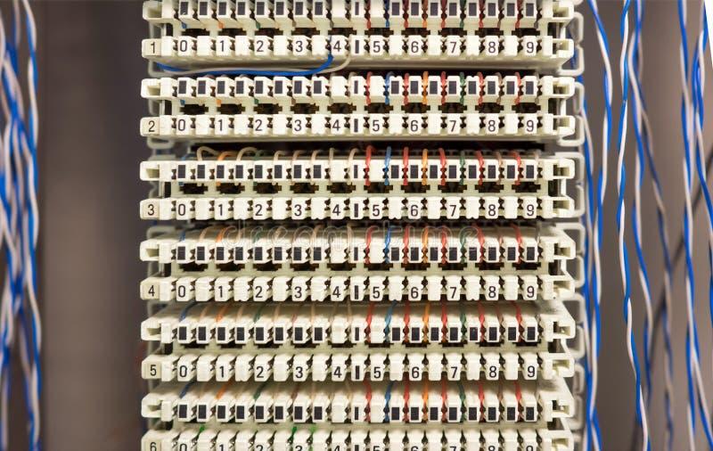 Telefoniczny switchboard panel, druty i zdjęcie royalty free