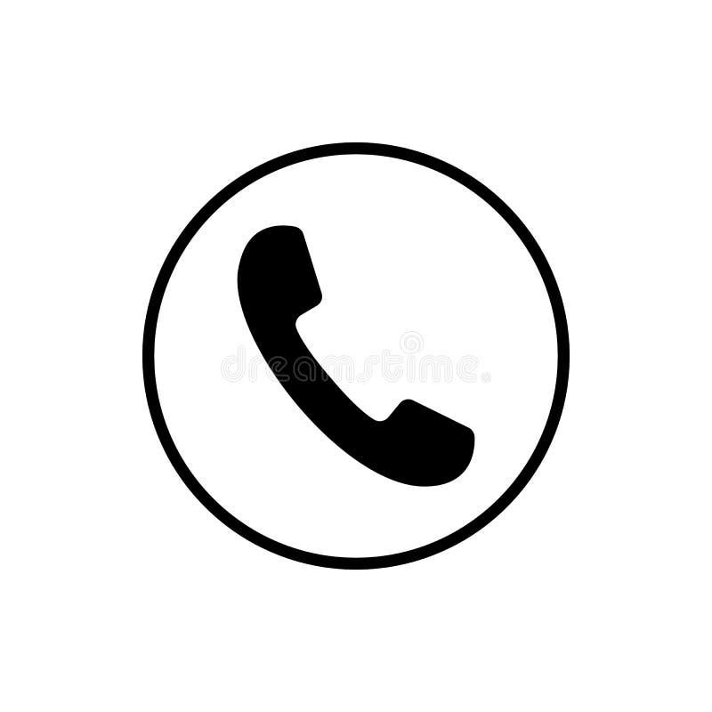 Telefonikone, Zeichen hörer Auch im corel abgehobenen Betrag Flaches Design Schwarzes, grau auf weißem Hintergrund stock abbildung