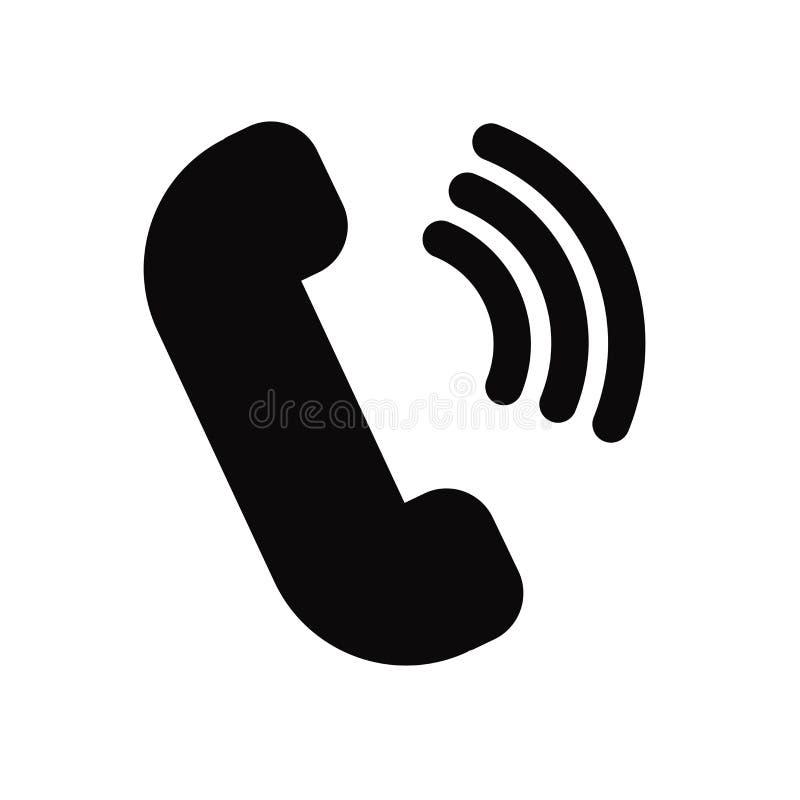 Telefonikonenvektor lokalisiert auf weißem Hintergrund, Telefonzeichen, schwarze Symbole stockbilder