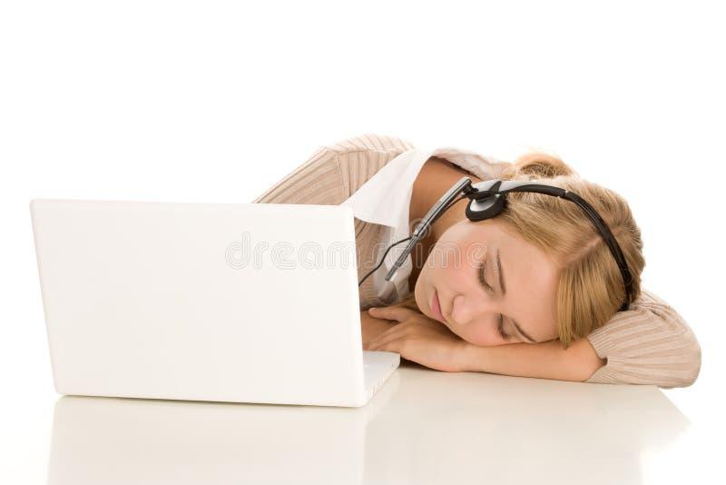 Telefonista cansada fotos de archivo