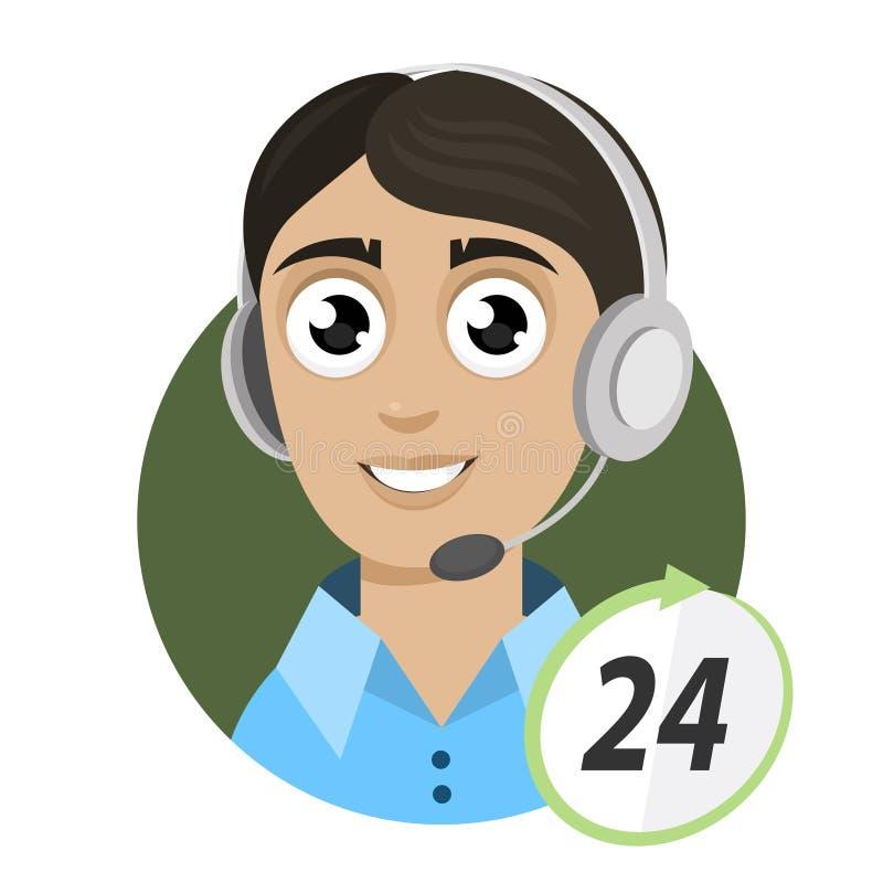 Telefonista del individuo, centro de atención telefónica 24 stock de ilustración