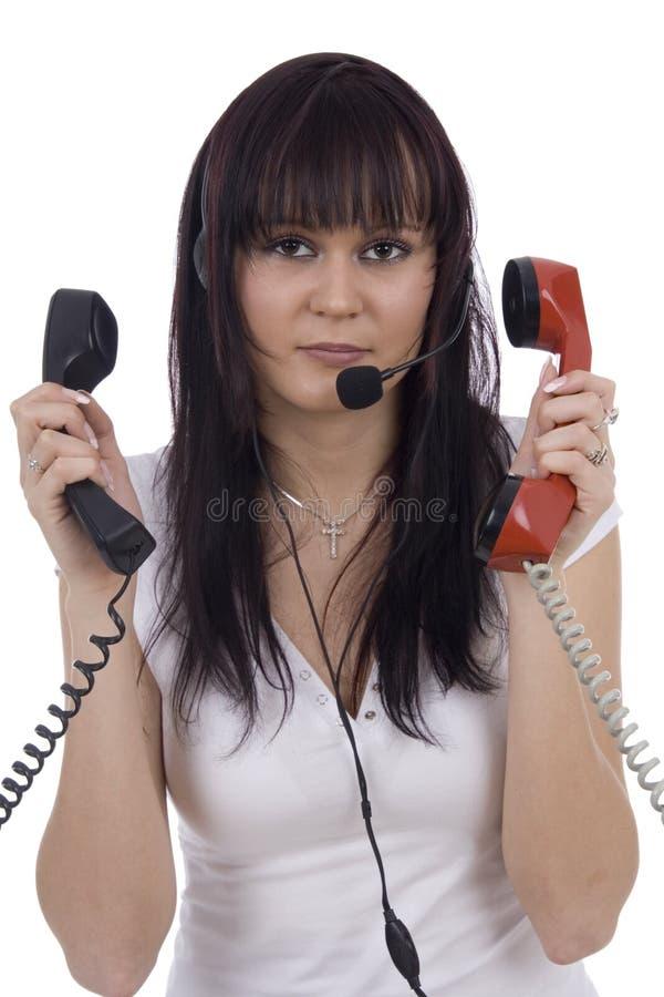 Telefonista ocupado fotografía de archivo libre de regalías