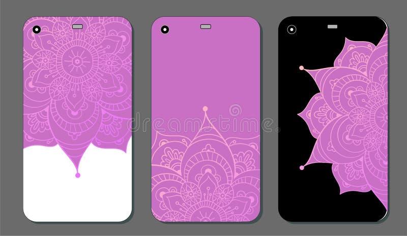Telefonkastenmandala-Designsatz Dekorative Elemente der Weinlese Hand gezeichneter Hintergrund Islam, Arabisch, Inder, Osmanemoti vektor abbildung