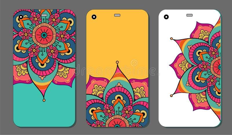 Telefonkastenmandala-Designsatz Dekorative Elemente der Weinlese Hand gezeichneter Hintergrund Islam, Arabisch, Inder, Osmanemoti lizenzfreie abbildung