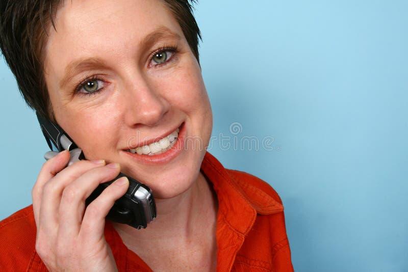 telefonkvinna royaltyfri fotografi